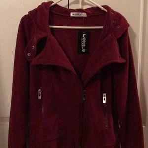 Jackets & Blazers - Soft Fleece Cranberry biker style jacket w/ hood.